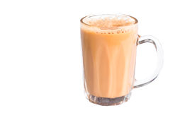 Tea with milk or popularly known as Teh Tarik isolated in white Stock Images