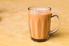 Tea with milk or popularly known as Teh Tarik in Malaysia Stock Image