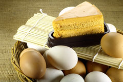 Tea milk soft cake and eggs Royalty Free Stock Photography