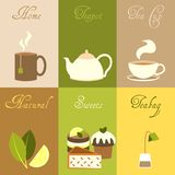 Tea mini posters set Stock Photo