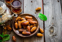 Tea with mint in arab style  on wooden table. Stock Images