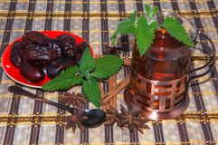 Tea with Mint in Arab tradition Stock Photo