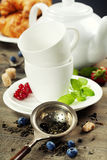 Tea with mint and berries Stock Photos
