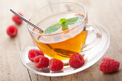 Tea with mint and berry Stock Photos