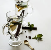 Tea with mint, cinnamon and lemon Royalty Free Stock Photo