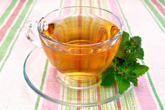 Tea with mint in cup on tablecloth Stock Image