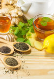 The tea with mint honey ginger and lemon on wood background,warm ton Royalty Free Stock Image