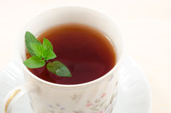 Tea and mint leaf Royalty Free Stock Images