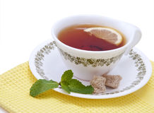 Tea with mint and lemon stock image