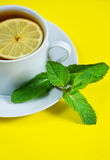 Tea with mint and lemon Stock Photos