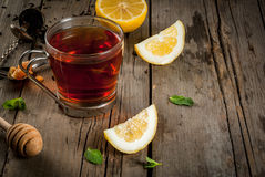 Tea with mint and lemon royalty free stock photo