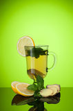 Tea with mint and lemon and ginger royalty free stock photos