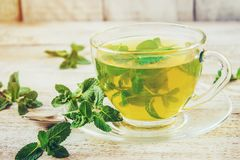 Tea with mint and lemon. Selective focus Royalty Free Stock Photo