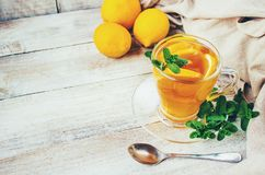 Tea with mint and lemon. Selective focus Stock Images