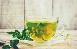 Tea with mint and lemon. Selective focus Stock Image