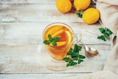 Tea with mint and lemon. Selective focus Royalty Free Stock Images