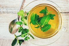 Tea with mint and lemon. Selective focus Royalty Free Stock Photography