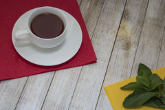 Tea and mint. Lie on multi-colored napkins Stock Photo