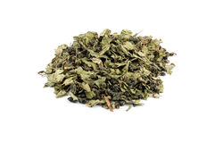 Tea Mix. Mix of green tea Gunpowder and mint from Morocco isolated on white Stock Images