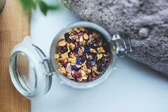 Tea mix in jar Royalty Free Stock Images