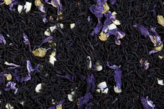 Tea mix of mallow petals, almond, chocolate flavor. Royalty Free Stock Images