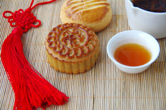 Tea and moon cakes Stock Images