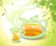Tea in the morning. Tea pot and cup in the morning Stock Photography