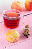 Tea with muffins and cinnamon Stock Photography