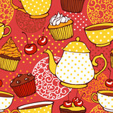 Tea and muffins sweet seamless pattern Royalty Free Stock Images