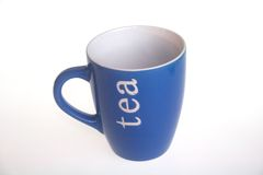 Tea mug. Closeup photo of a blue tea mug Stock Images