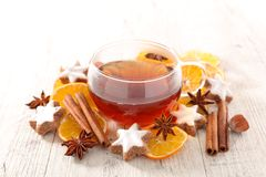 Tea mug and spices. Studio shot Royalty Free Stock Photography