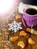 Tea in a mug wrapped into tiny scarf surrounded by mandarin segments Royalty Free Stock Image
