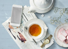 Tea Newspaper Watch Information Simple Relax Concept Royalty Free Stock Image