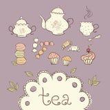 Tea och sötsaker vektor illustrationer