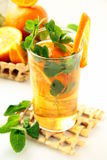 Tea with orange and branches of mint Royalty Free Stock Photography