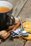 Tea, orange, cinnamon Christmas mood. Royalty Free Stock Photos
