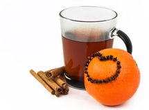 Tea with orange and cloves Royalty Free Stock Images