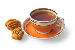 Tea in an orange cup with nath Royalty Free Stock Photo
