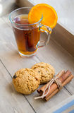Tea with orange Stock Photography