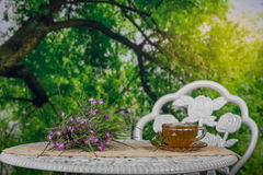 Tea in an outdoor setting in the morning Stock Photo
