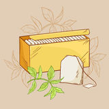 Tea pack  and tea bag. Illustration with tea pack,  tea bag and green tea leaves Stock Photography