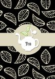 Tea package label. Beige leaves on black background vector with tea label  on white teapot Stock Photo