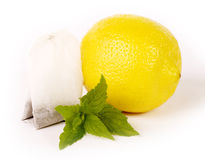 Tea package with lemon Royalty Free Stock Image