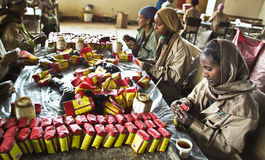 Tea packaging in Ethiopia stock photo