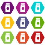 Tea packed in a paper bag icon set color hexahedron Stock Image