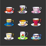 Tea pairs. Set of icons Royalty Free Stock Photo