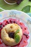 Tea, pancakes with bilberry jam Royalty Free Stock Photos