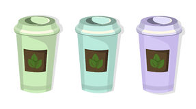 Tea paper cups set icon template. Pink quartz and serenity Vector template. S Royalty Free Stock Image