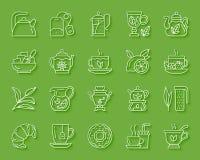 Tea simple paper cut icons vector set stock illustration