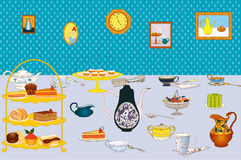 Tea party. Served with tea table Vector illustration Stock Photography